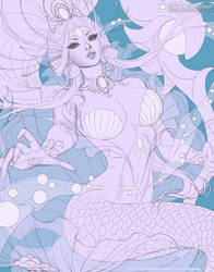 The White Pearl Of The Sea - Line Art by MichelleHoefener