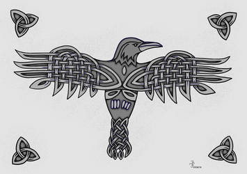 Knotwork Crow by bifishiar