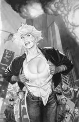 Power Girl Tonal Drawing by AdamHughes