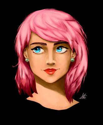 Second digital art piece - Girl with pink hair by Annzig