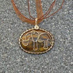 Tigers Eye Elephant Pendant by magpie-poet