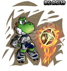 Greeny Yoshi in Mario Strikers Charged by Greeny-Yoshi-RSL19