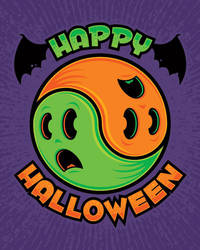 Happy Halloween Ghost Yin-Yang by fizzgig