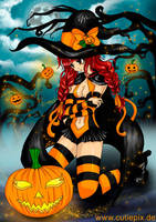 Halloween (Anime, Manga, Hexe/ Witch, Pumpkin) by Cutiepix