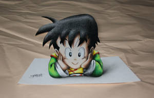 3D Art! Kid Gohan - Colored Drawing by InlineSpeedSkater