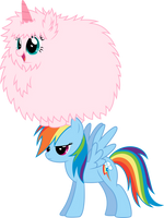 Fluffle Puff dancing on Rainbow... Dash by MacTavish1996