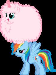 Fluffle Puff dancing on Rainbow... Dash by MacTavish1996