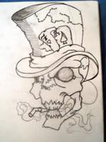 Quick skull sketch by Paskaniska