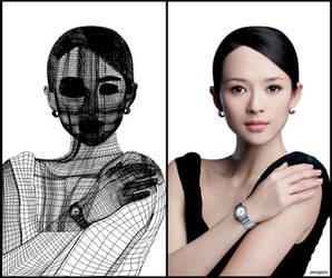 Gradient Mesh: Zhang Ziyi by jerrp