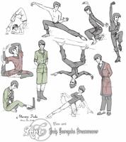Many sketches of Monty Fiske by ScereyahaDreamweaver
