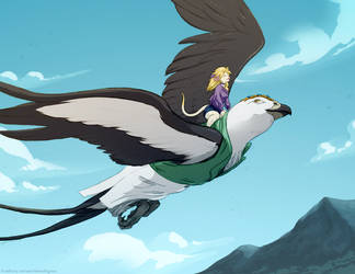 Esel and Elysium in Flight by TheTiedTigress