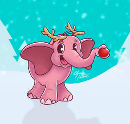Cute Christmas Pink Elephant by intocidraw
