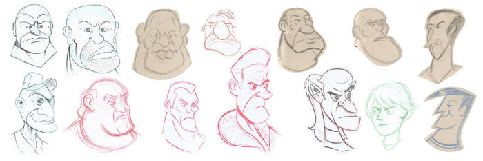 Some bad guys faces by intocidraw