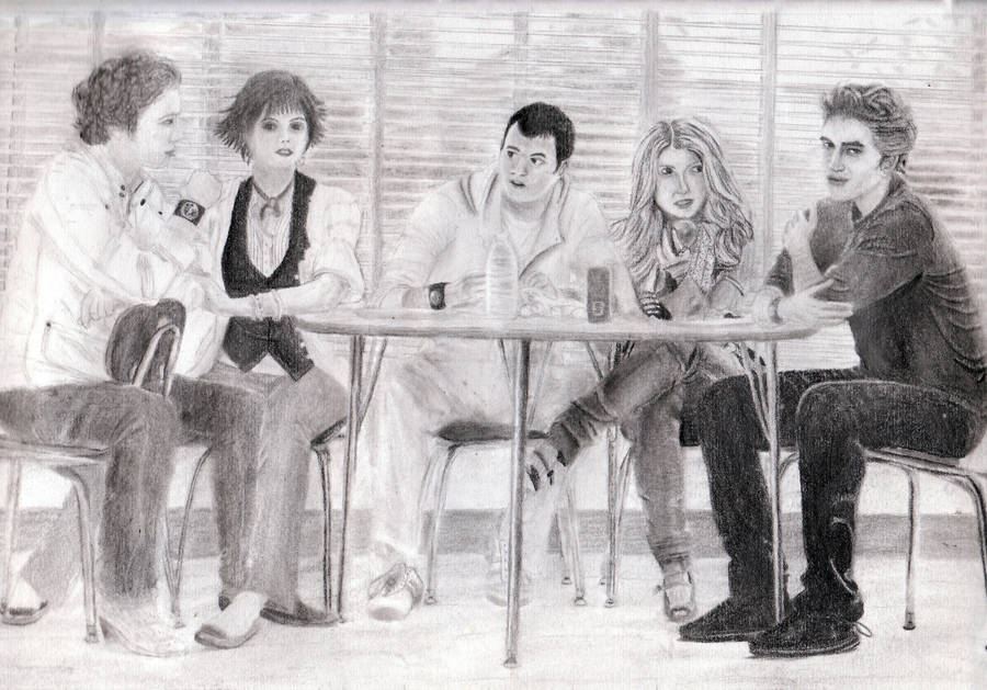 Twilight cafeteria scene by craftymama2