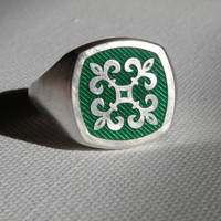 Green Enamel Signet Ring by gregoryfalkner