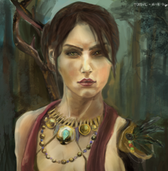 Morrigan Portrait (Dragon Age Fanart) by totopc