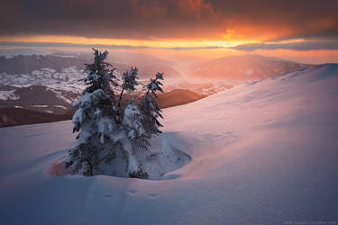 Beautiful sunset in winter Carpathians by Sergey-Ryzhkov