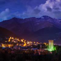 Night view of Mestia, Georgia by Sergey-Ryzhkov