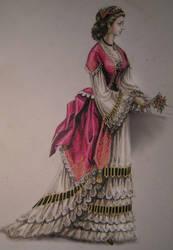 a lady with flowers by edarlein