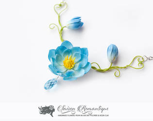Necklace Lotus - Polymer Clay Flowers by SaisonRomantique
