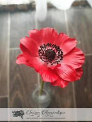 Red Anemone - Polymer Clay Flowers by SaisonRomantique