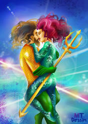 aquaman kiss Mera under the sea during th war by mtdessin
