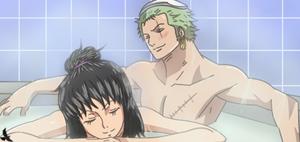 One Piece OC .:. Zoro X Heba .:. = Bath = by Heba-Asawa