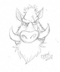 Boar sketch design by Omaik