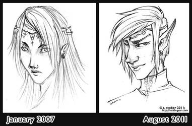 Sketch Comparison: Mi M'zir by Skwinky