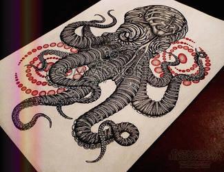 Ornamental Kraken /dotwork/ by Stanislava-Korn