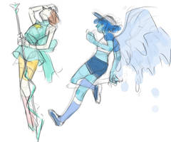 Sketches of Pearl and Lapis by northw4rd