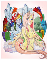 Rainbow Dash and Fluttershy by ShugarSketch