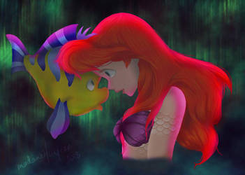 Ariel and Flounder by madameHunterr