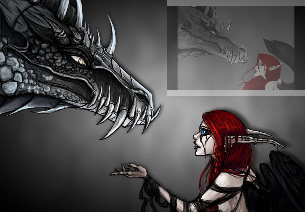 Dragon and Elf by AtropaGrimm