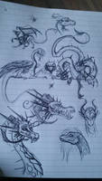 Dragon scribbles by AtropaGrimm