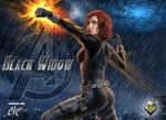 Black Widow pin up by CarbertArtwork