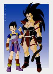 Commission 39 - Kyabe and Female Raditz by salvamakoto