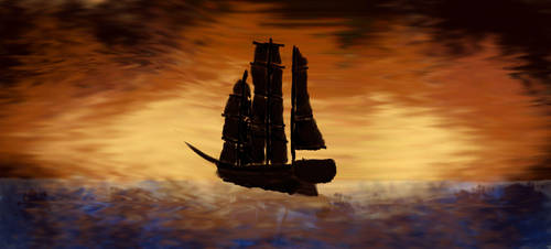 Tall Ship Out At Sea by ChristopherBoland