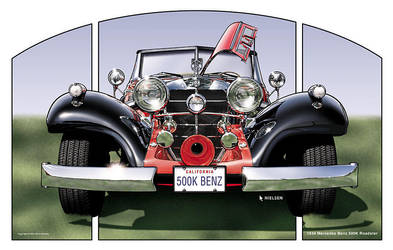 1934 Mercedes Roadster by pentoolart