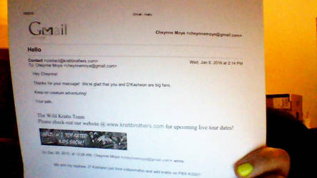 A email that I received from the Wild Kratts team by magiccheynne02321