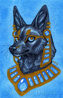 Gold Anubis Card by KatieHofgard