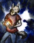 Wolf with fire by ShadowOfLightt