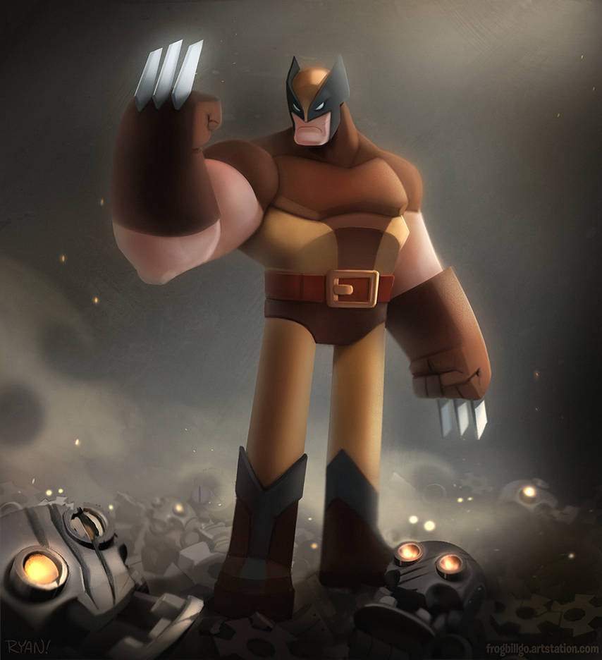 Wolvie and Robots by frogbillgo