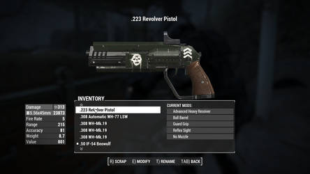Fallout 4 - .223 Revolver in Gunner skin by PlutoSkybase