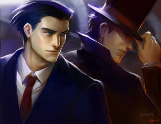 Professor Layton vs Ace Attorney by bluemist72