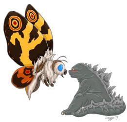 Godzilla x Mothra by Dreaming--Lullabies