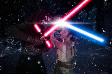 Kylo Ren vs Rey by Nebulaluben