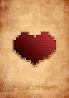 Pixel Heart Vintage Poster by capdevil13