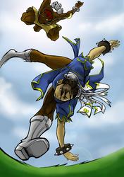 Chun Li vs Dhalsim colored by ClydeBob