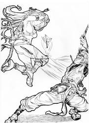 Eagle VS Monkey by shinkatana